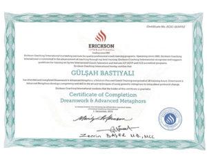Erickson International Certificate of Completion Dreamwork & Advanced Metaphors